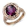 Oval Rhodolite Garnet with Starlight Diamond Halo in 18k Rose Gold (7x5mm)