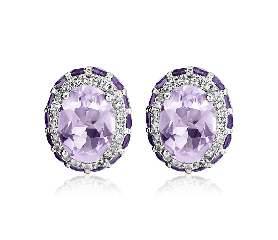 Oval Rose de France Earrings with Amethyst and White Topaz Halo in Sterling Silver