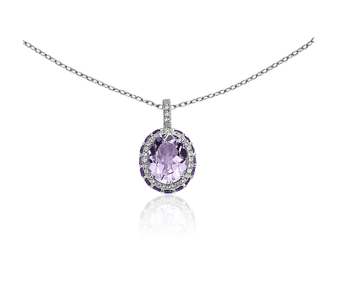 Oval Rose de France Pendant with Amethyst and White Topaz Halo in Sterling Silver