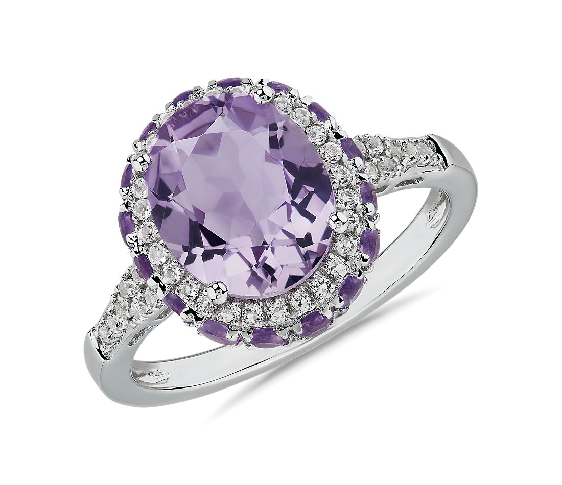 Oval Rose de France Amethyst Ring with Amethyst and White Topaz Halo in Sterling Silver