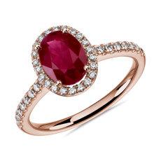 新款 14k 玫瑰金橢圓形紅寶石與圓形鑽石光環戒指 8x6毫米