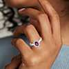 14k 白金 橢圓形紅寶石與鑽石光芒四射光環戒指<br>( 7x5毫米)