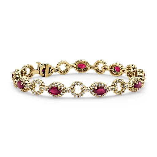 Oval Ruby And Diamond Halo Bracelet In 18k Yellow Gold