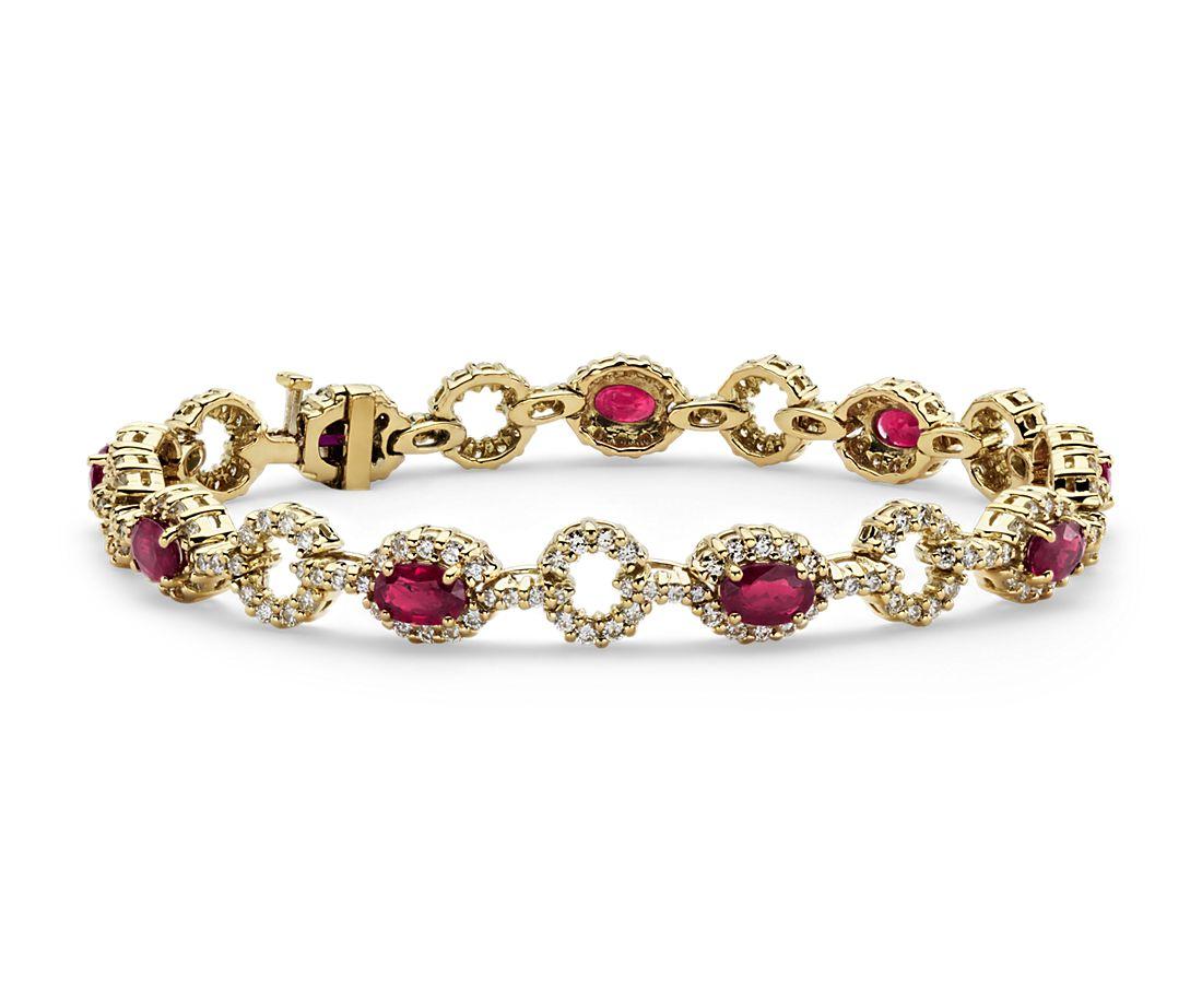Bracelet diamant serti pavé et rubis ovale en or jaune 18carats