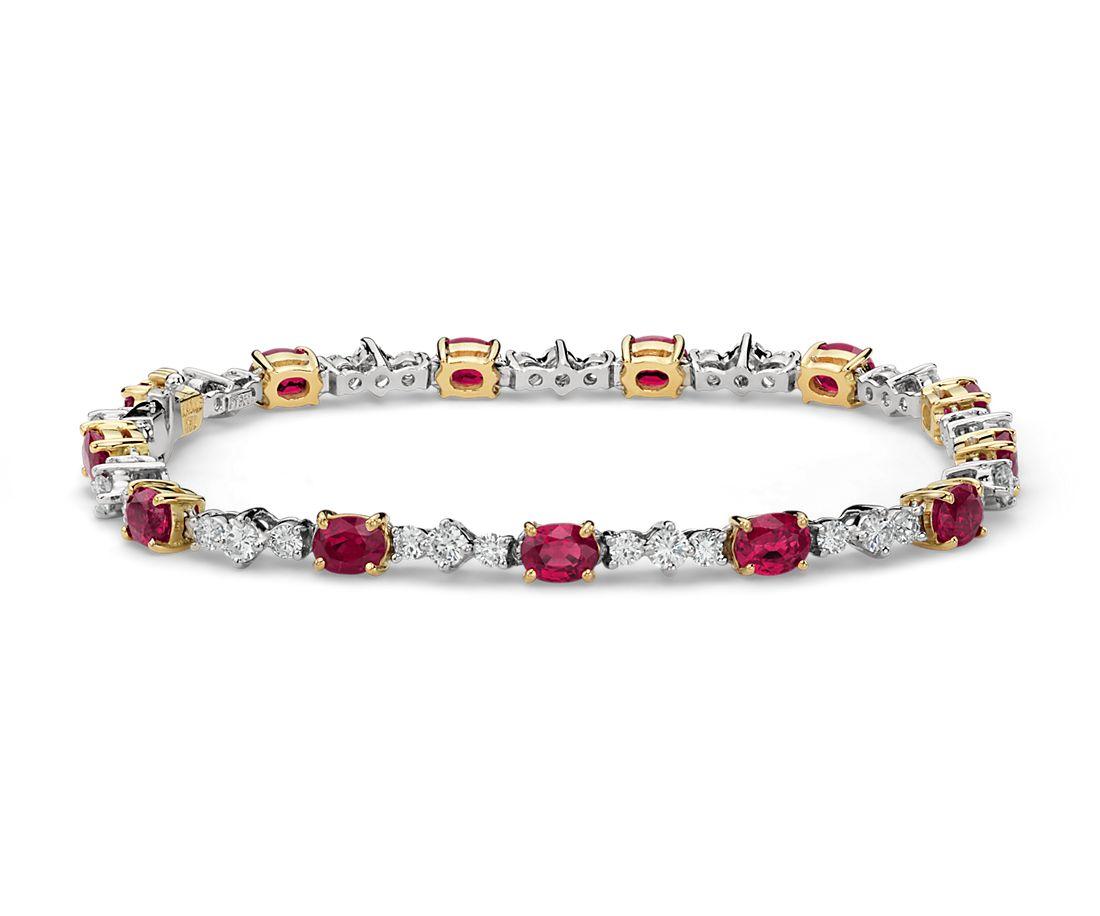 Bracelet diamant et rubis ovale en platine et or jaune 18carats