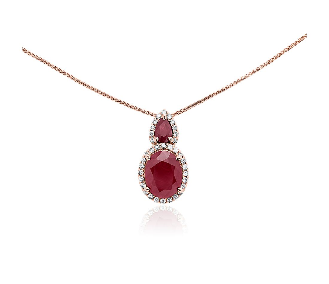 Oval Ruby and Diamond Drop Pendant in 14k Rose Gold