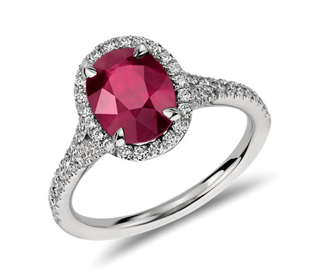 Oval Ruby and Diamond Halo Ring in Platinum