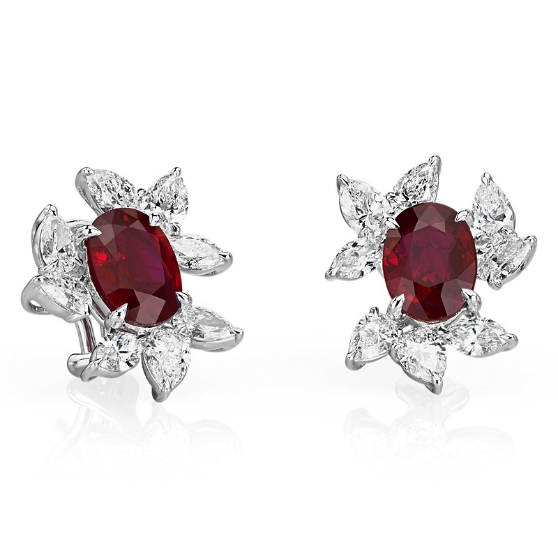 Oval Ruby Earrings with Diamond Leaf Halo in 18k White Gold (5.15