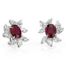 Oval Ruby Earrings with Diamond Leaf Halo in 18k White Gold (5.15 ct. centre)