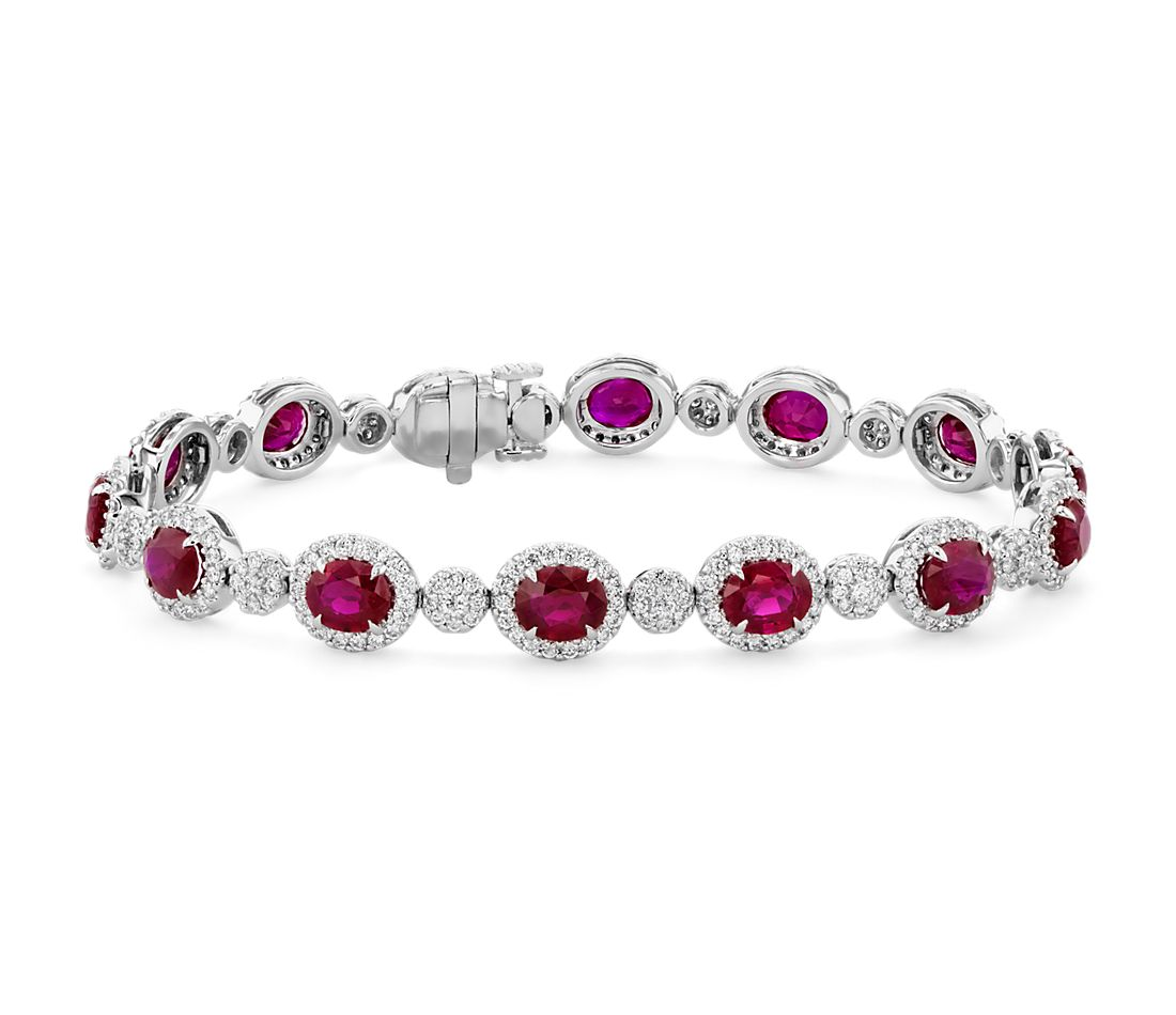 Oval Ruby Eternity Bracelet with Diamond Halos in 18k White Gold