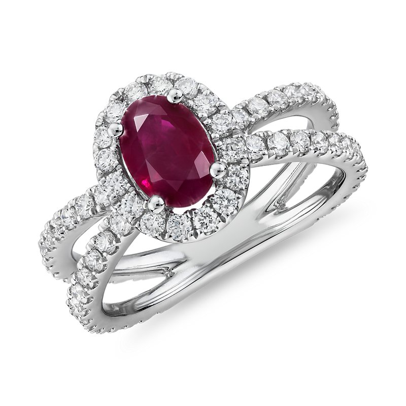 Oval Ruby Ring with Diamond Pavé Split Shank in 14k White