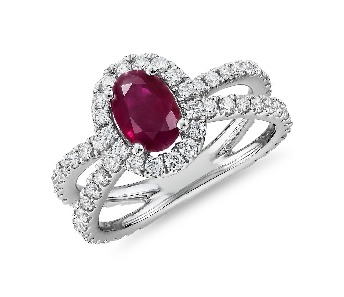 Oval Ruby Ring with Diamond Pavé Split Shank in 14k White Gold (7x5mm)