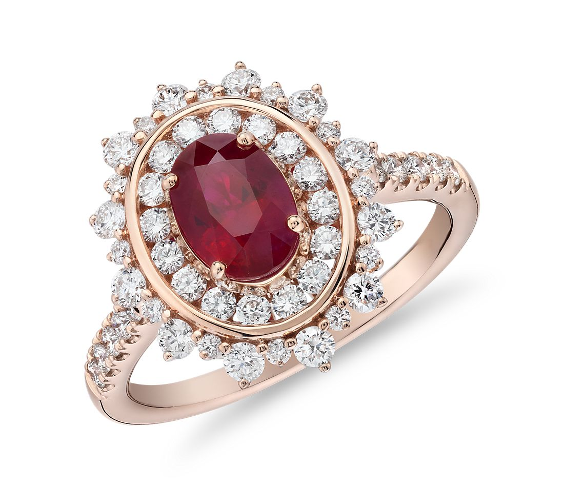 Oval Ruby Ring With Double Diamond Halo In 14k Rose Gold