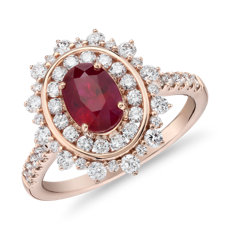 Oval Ruby Ring with Double Diamond Halo in 14k Rose Gold (7x5mm)