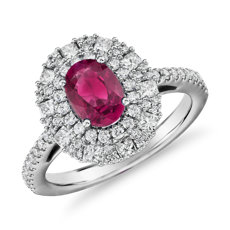 Oval Ruby Ring with Double Diamond Halo in 14k White Gold (7x5mm)