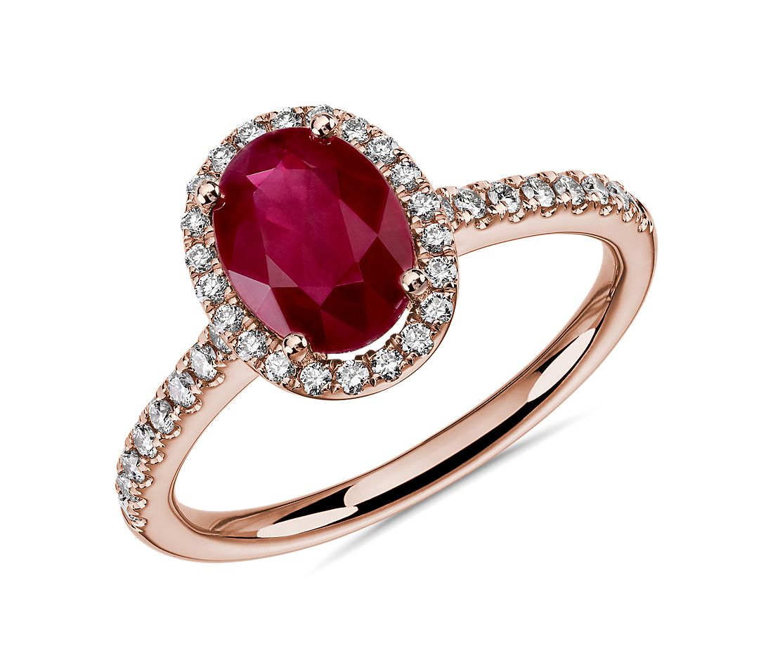 Bague rubis ovale et halo de diamants ronds en or rose 14 carats 8 x 6 mm