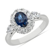 NEW Oval Sapphire 3 Stone Halo Ring in 14k White Gold (7x5mm)