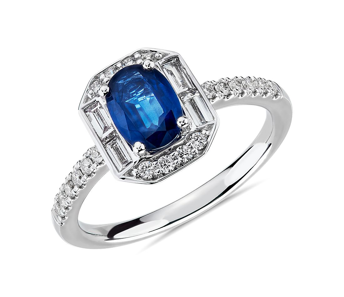 Oval Sapphire and Diamond Baguette Halo Ring in 14k White Gold (7x5mm)
