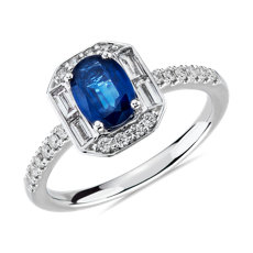 NEW Oval Sapphire and Diamond Baguette Halo Ring in 14k White Gold (7x5mm)
