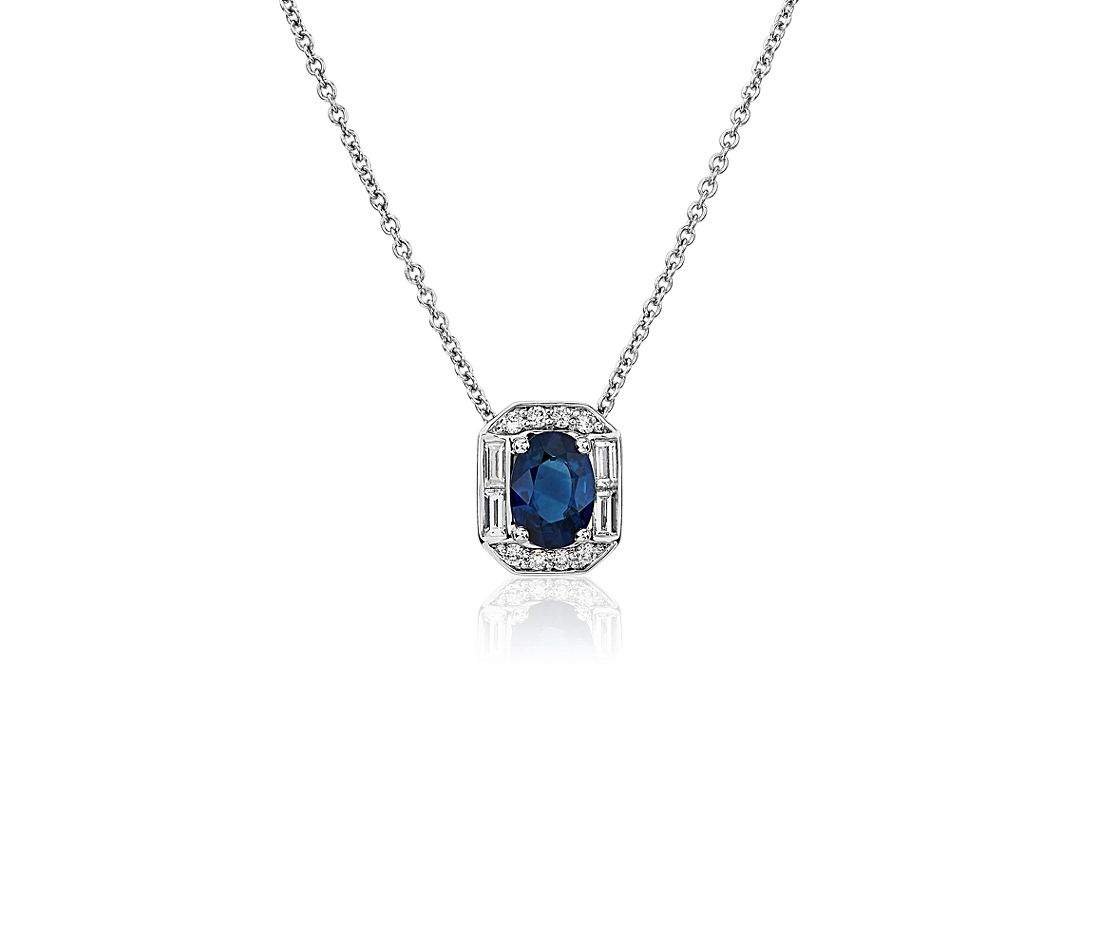 Oval Sapphire and Diamond Baguette Halo Pendant in 14k White Gold (7x5mm)