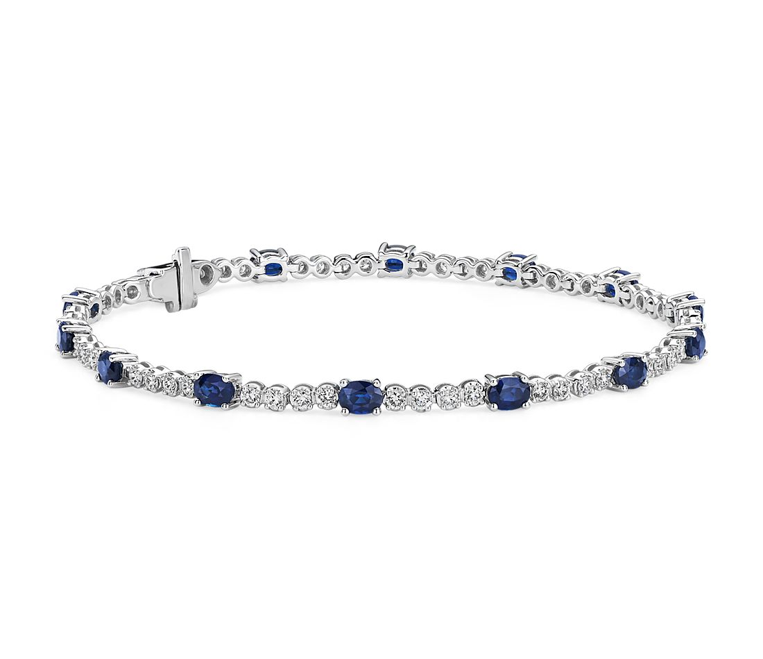 Oval Sapphire and Diamond Bracelet in 14k White Gold