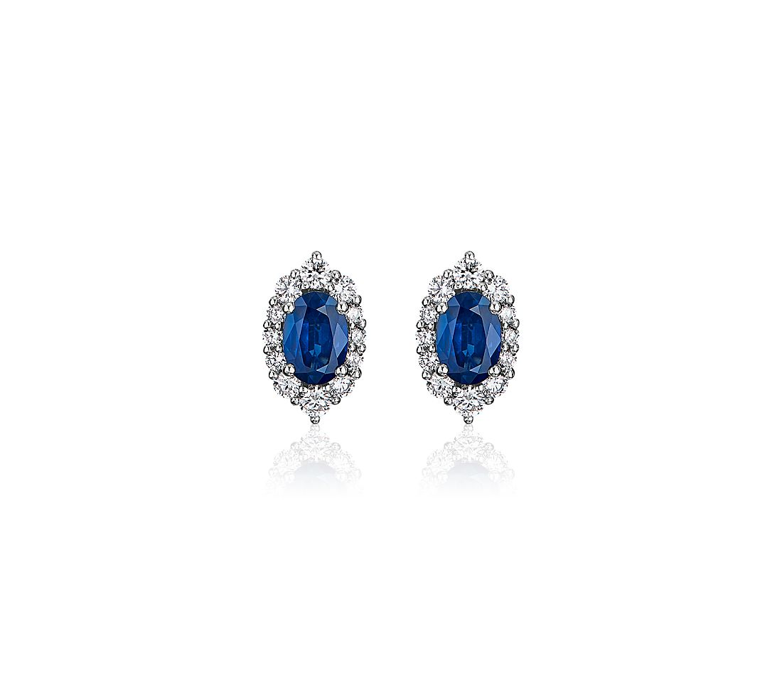 Oval Sapphire and Diamond Earrings in 14k White Gold