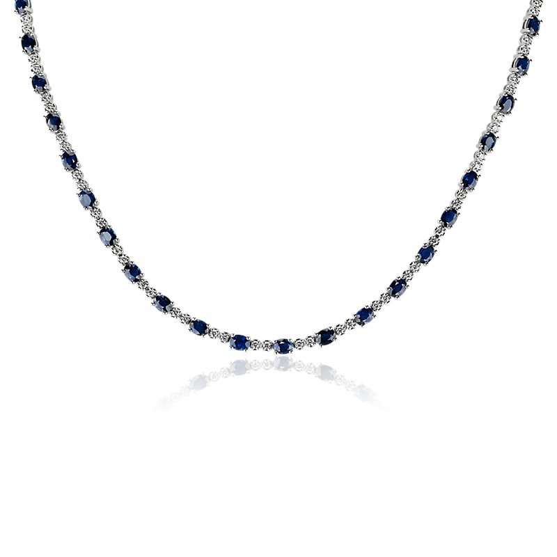Oval Sapphire and Diamond Eternity Necklace in 14k White Gold