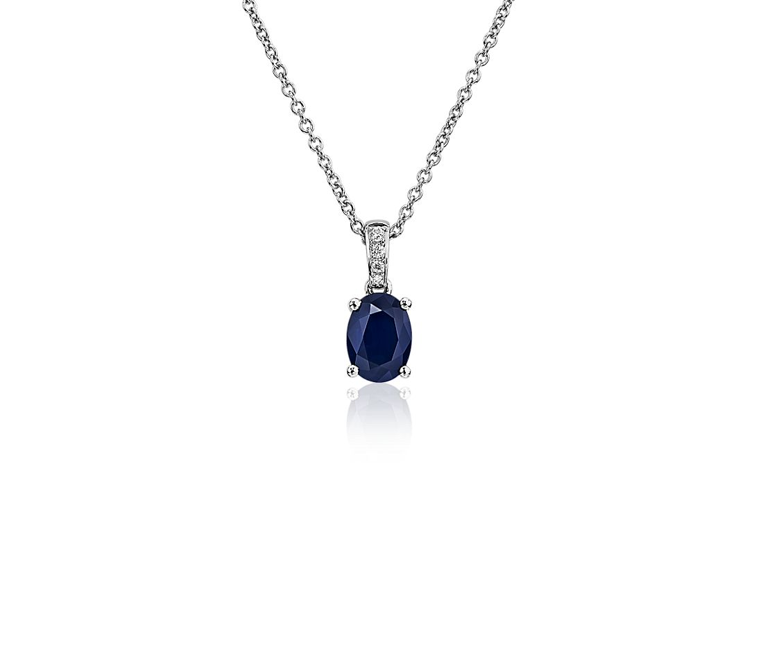 Oval Sapphire and Diamond Pendant in 14k White Gold