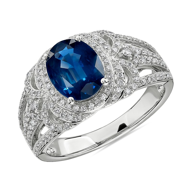 Oval Sapphire and Diamond Ring in 14k White Gold