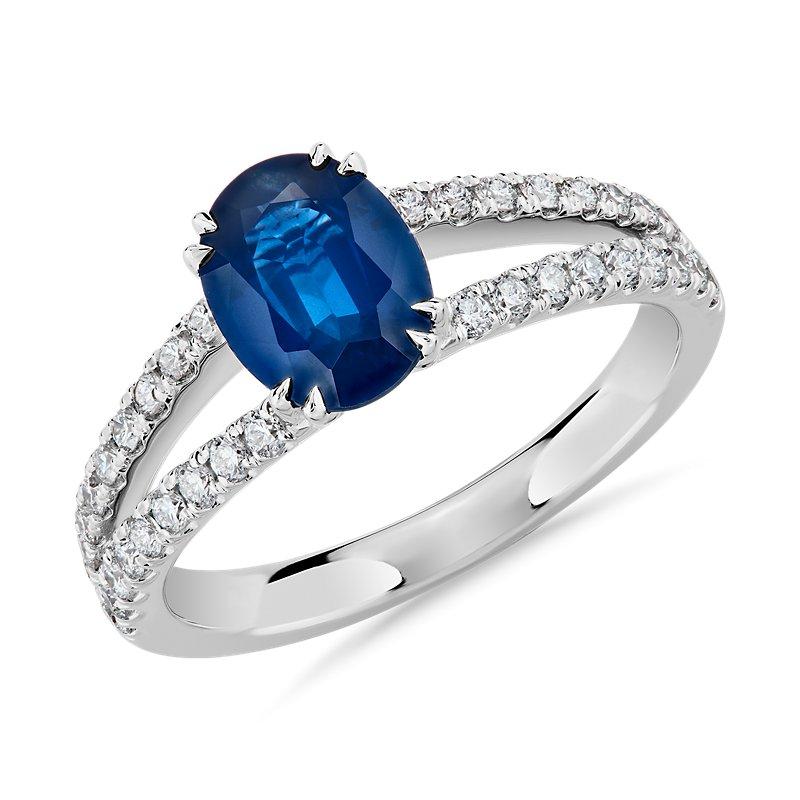 Oval Sapphire and Diamond Split Shank Ring in 14k White Gold