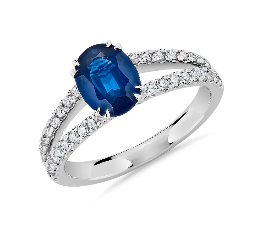 Oval Sapphire and Diamond Split Shank Ring in 14k White Gold