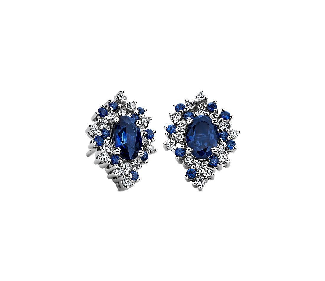 Oval Sapphire and Diamond Starlight Earrings in 18k White Gold
