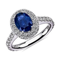Oval Sapphire and Double Halo Diamond Ring in 14k White Gold (8x6mm)