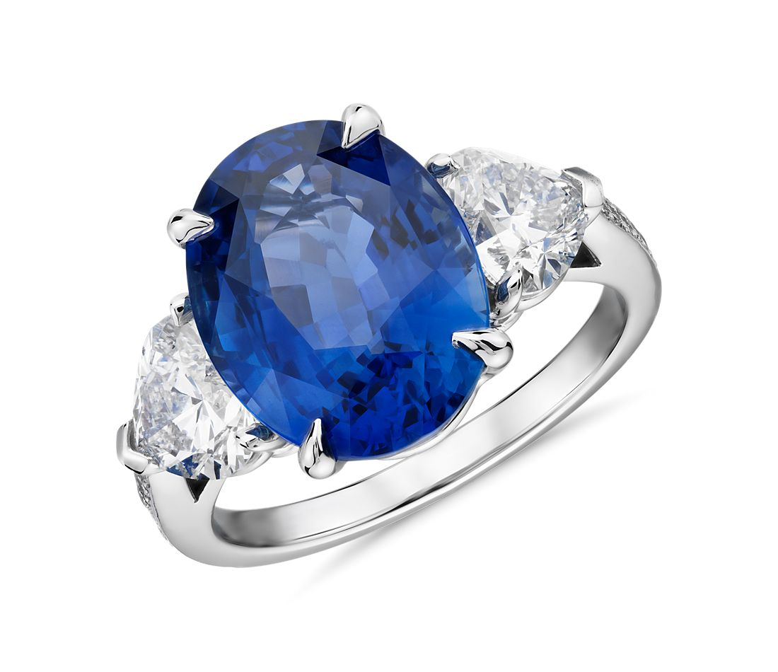 Oval Sapphire and Heart Diamond Ring in Platinum