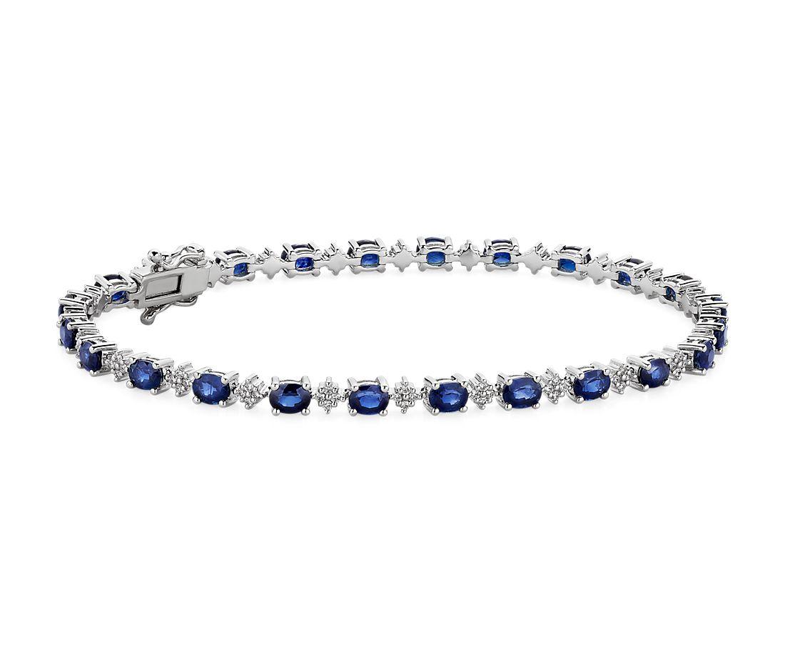 14k 白金椭圆形蓝宝石和圆形钻石手链