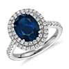 Oval Sapphire and Diamond Double Halo Micropavé Ring in 18k White Gold (9x7mm)