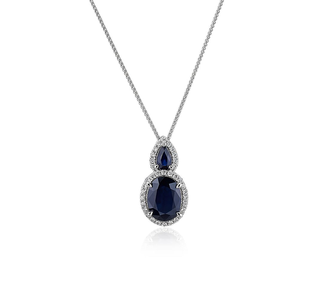 Oval Sapphire and Diamond Drop Pendant in 14k White Gold
