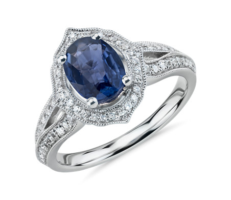 Truly Zac Posen Oval Sapphire Split Shank Engagement Ring with Diamond Halo in 14k White Gold (8x6mm)