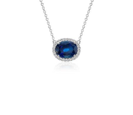 18k 白金光环椭圆蓝宝石与钻石悬浮吊坠<br>(10x8毫米)