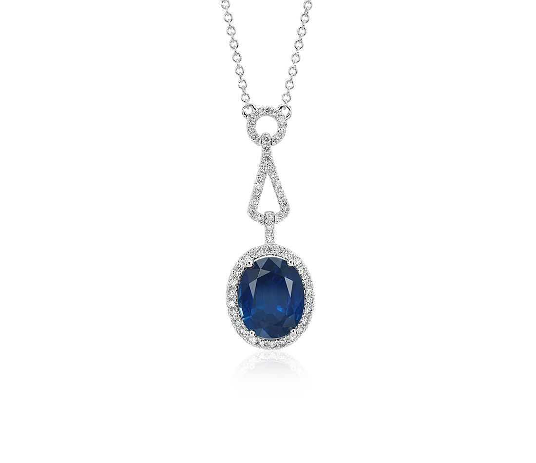 Oval Sapphire and Diamond Halo Loop Drop Pendant in 18k White Gold (3.85 ct. centre)