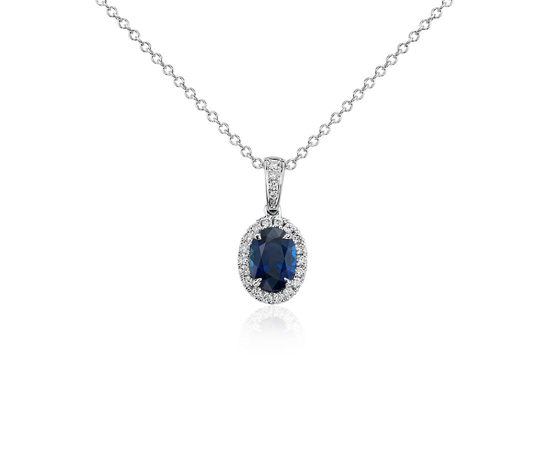 Oval Sapphire And Diamond Micropav 233 Pendant In 14k White
