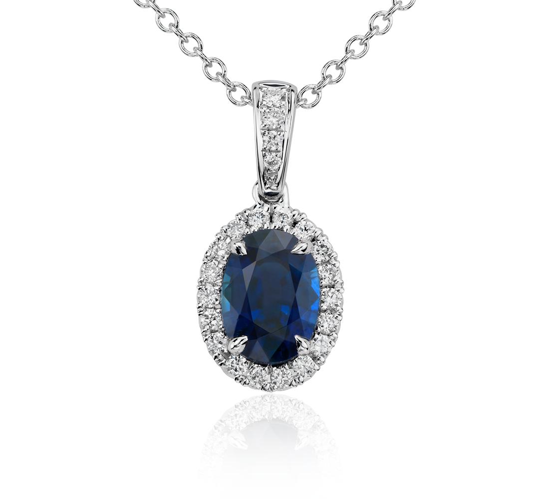 Colgante con pavé de diamantes y zafiro ovalado en oro blanco de 14 k (7x5mm)