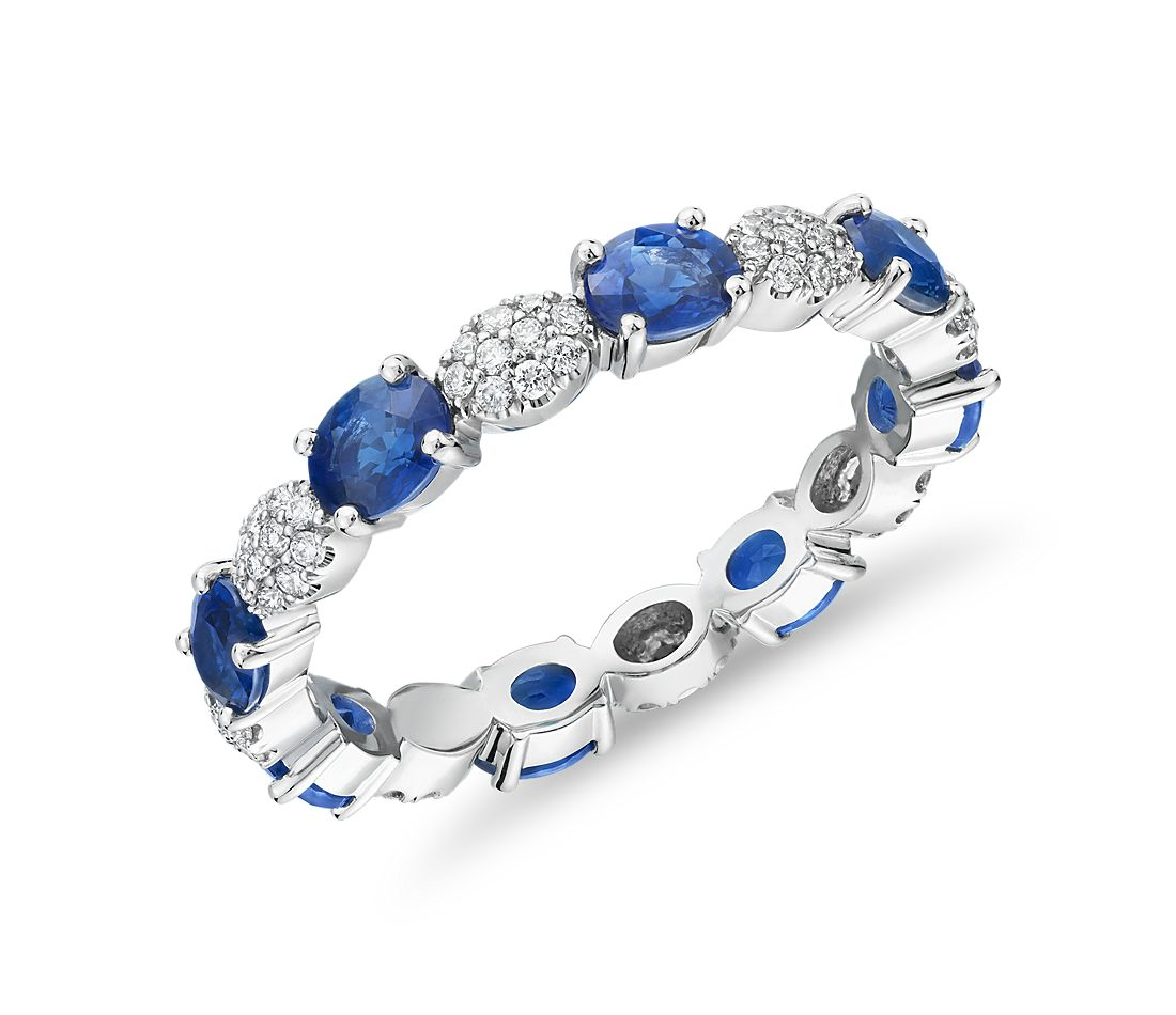 Oval Sapphire and Diamond Pave Eternity Ring in Platinum (4x3mm)