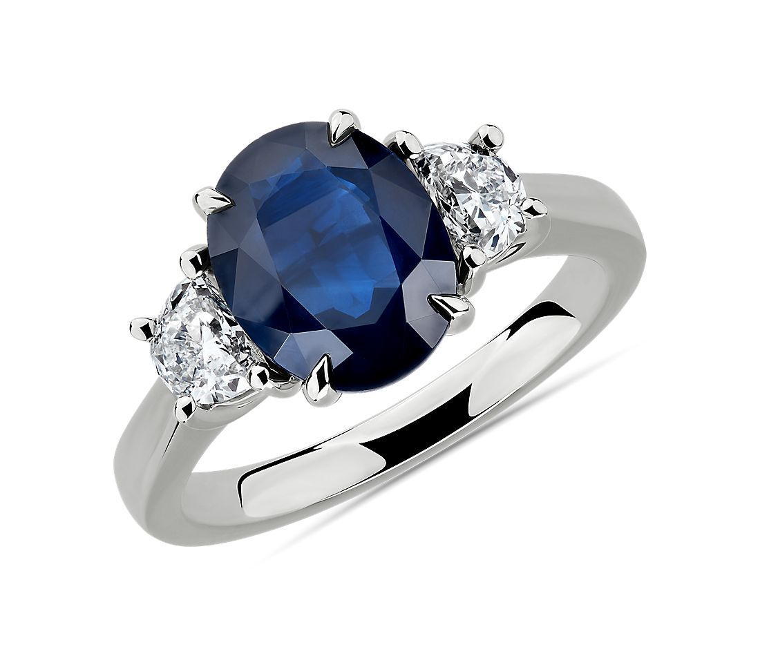 oval sapphire and diamond ring in platinum 10x8mm - Sapphire Wedding Rings