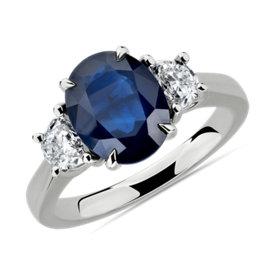 铂金椭圆蓝宝石钻石戒指(10x8毫米)