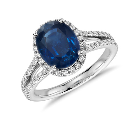 Oval Sapphire and Diamond Halo Split Shank Ring in 18k White Gold (9x7mm)