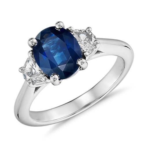 Sapphire And Half Moon Shaped Diamond Ring In Platinum