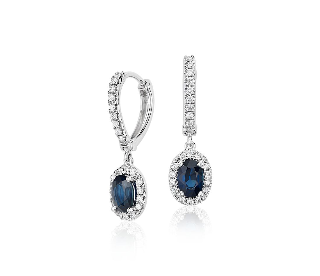 Oval Sapphire and Diamond Halo Drop Earrings in 18k White Gold (6x4mm)