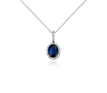 Oval Sapphire and Micropavé Diamond Pendant