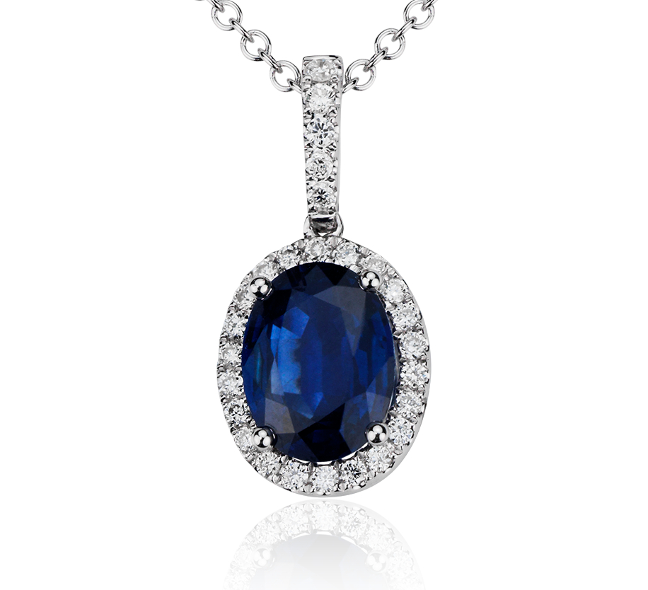 Oval Sapphire and Micropavé Diamond Pendant in 14k White Gold (8x6mm)